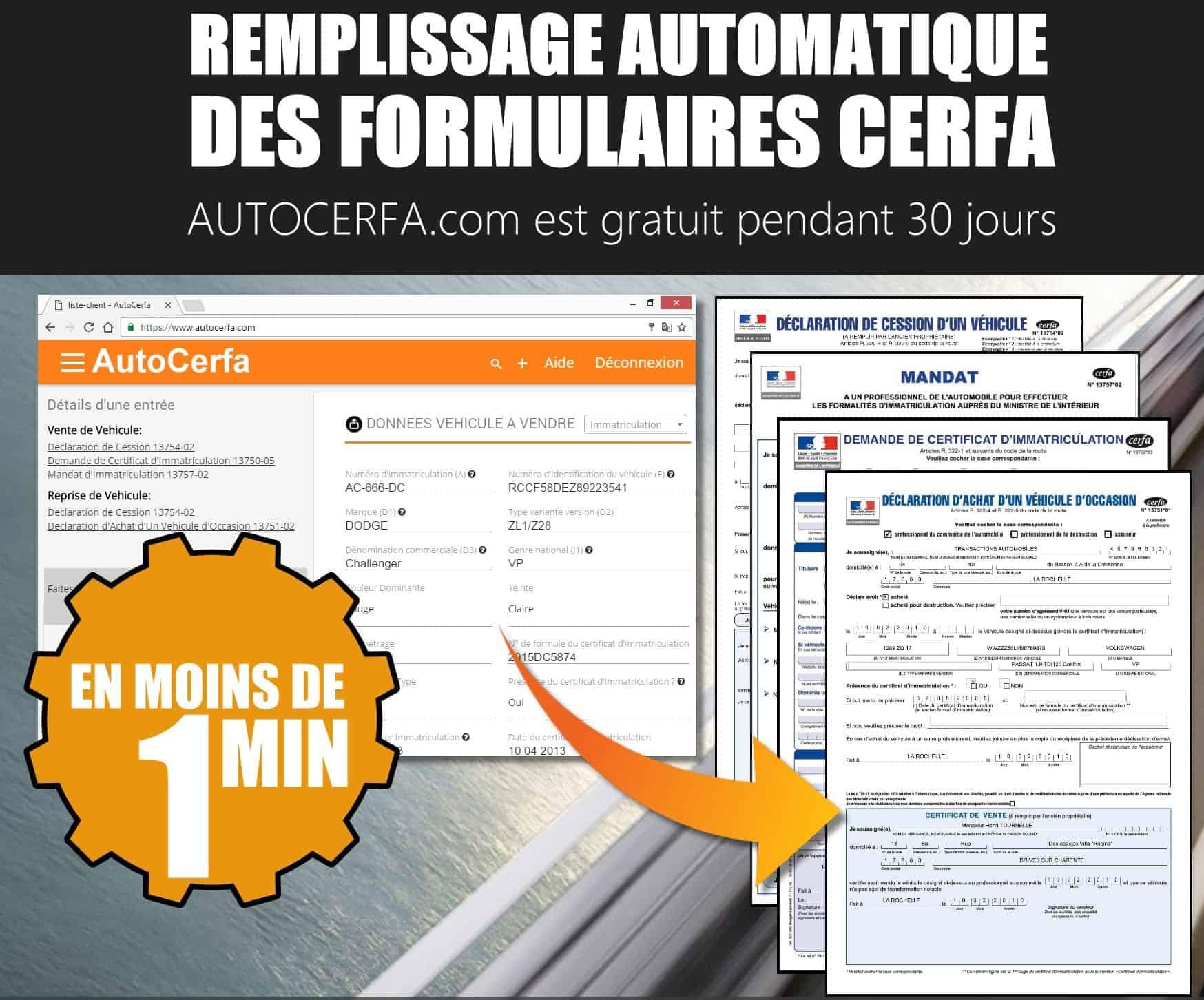 Remplissage automatique de formulaire cerfa pour concessionaire automobile en France. Un logiciel crée pour tous les concessionnaires d'automobiles.